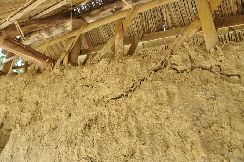 Wattle and Daub Wall close-up at Chiangmai Life Construction