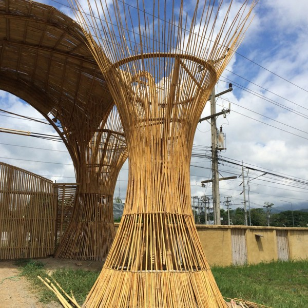 Entrance Gate At Clc Bamboo Earth Architecture