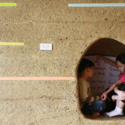 Rammed Earth Wall With Cave At Panyaden School