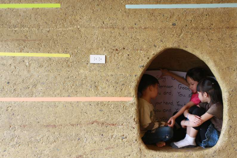Rammed Earth Wall With Cave At Panyaden School