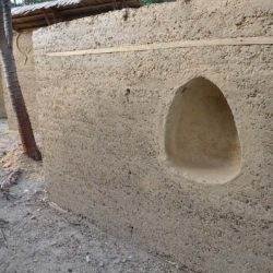 Cave For Lighting In Rammed Earth Wall