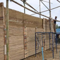 Rammed Earth Wall Under Construction