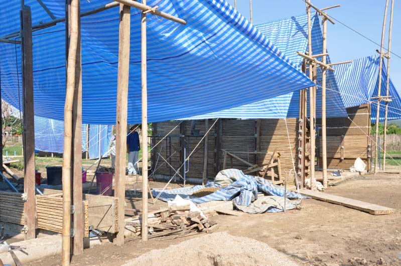 Rammed Earth Walls Under Construction