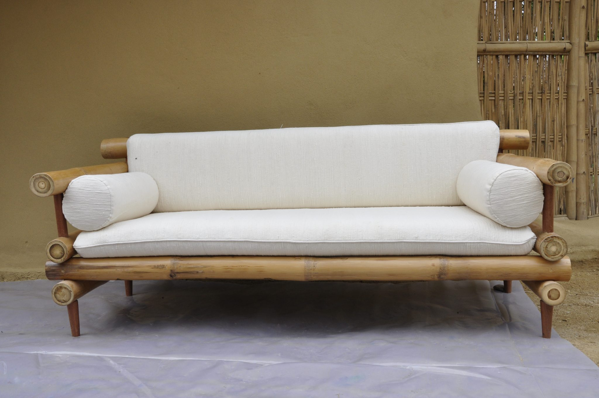 Bamboo Sofa 2 Arms Size 200x75x60cm Bamboo Earth Architecture Chiangmai Life Construction