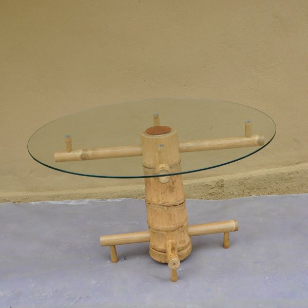 Furniture Glass Top Bamboo Coffee Table