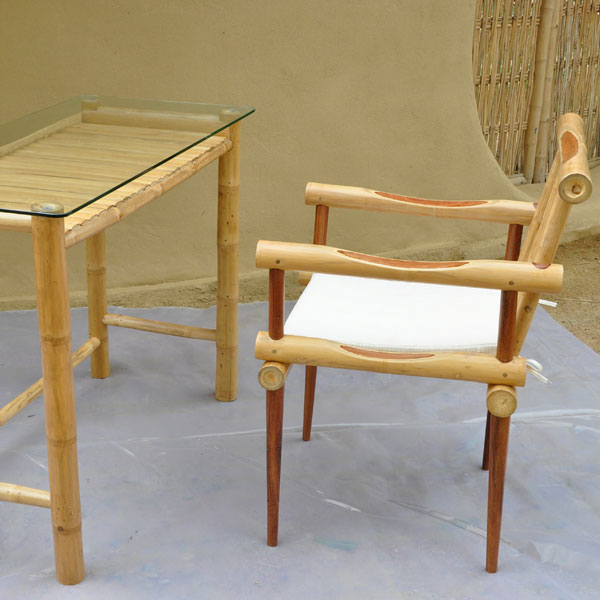 Furniture Glass Top Bamboo Desk Chair Set