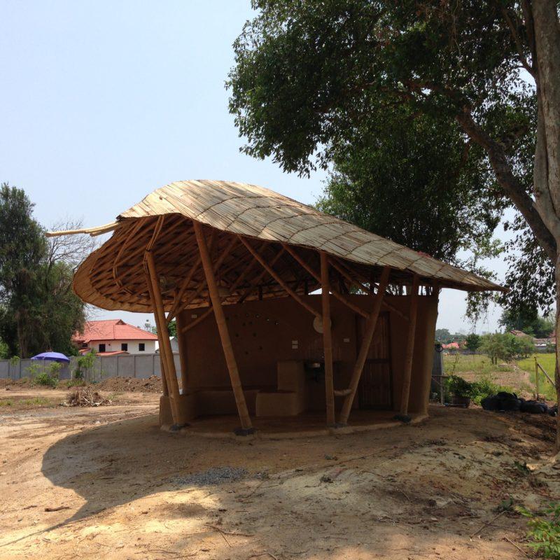 garden hut. Adobe Garden Hut With Freeform Bamboo Roof
