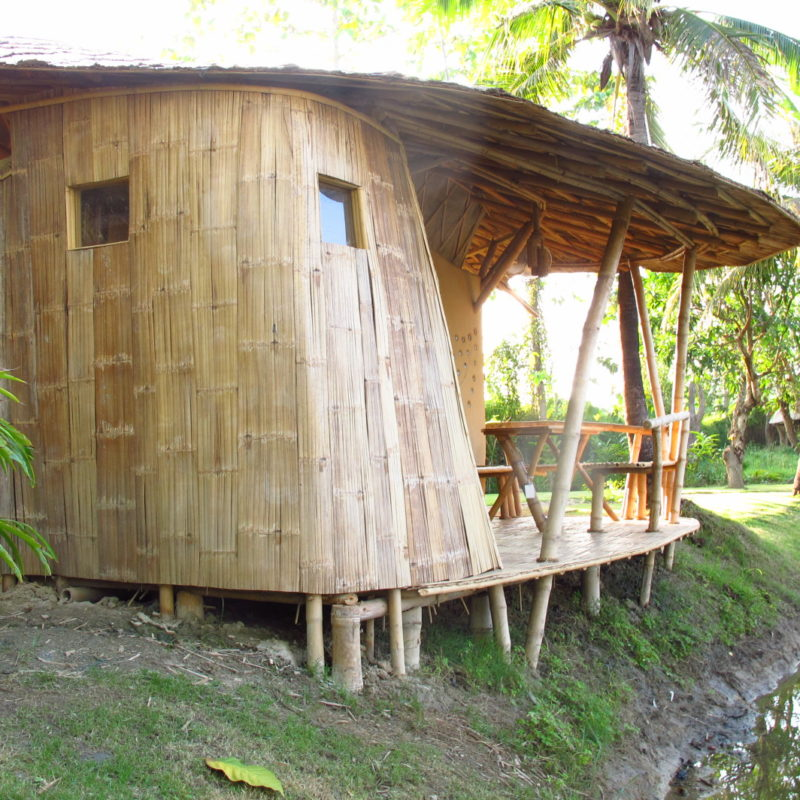 Great Small Bamboo And Earth Adobe Cottage With Half Open Bathroom, Terrace And  Pantry