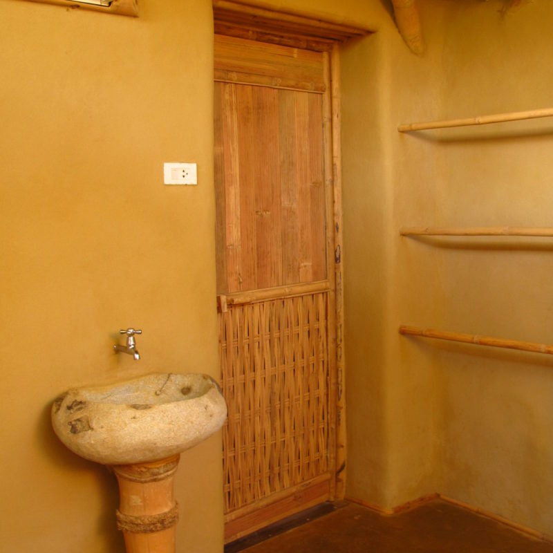 Charming Small Bamboo And Earth Adobe Cottage With Half Open Bathroom, Terrace And  Pantry