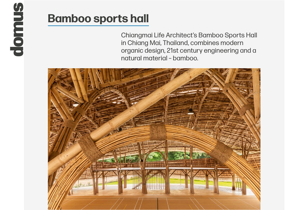 Italy's Design Icon Domus Features Bamboo Sports Hall